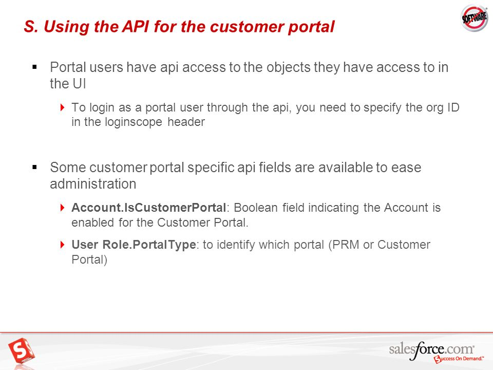 S. Using the API for the customer portal