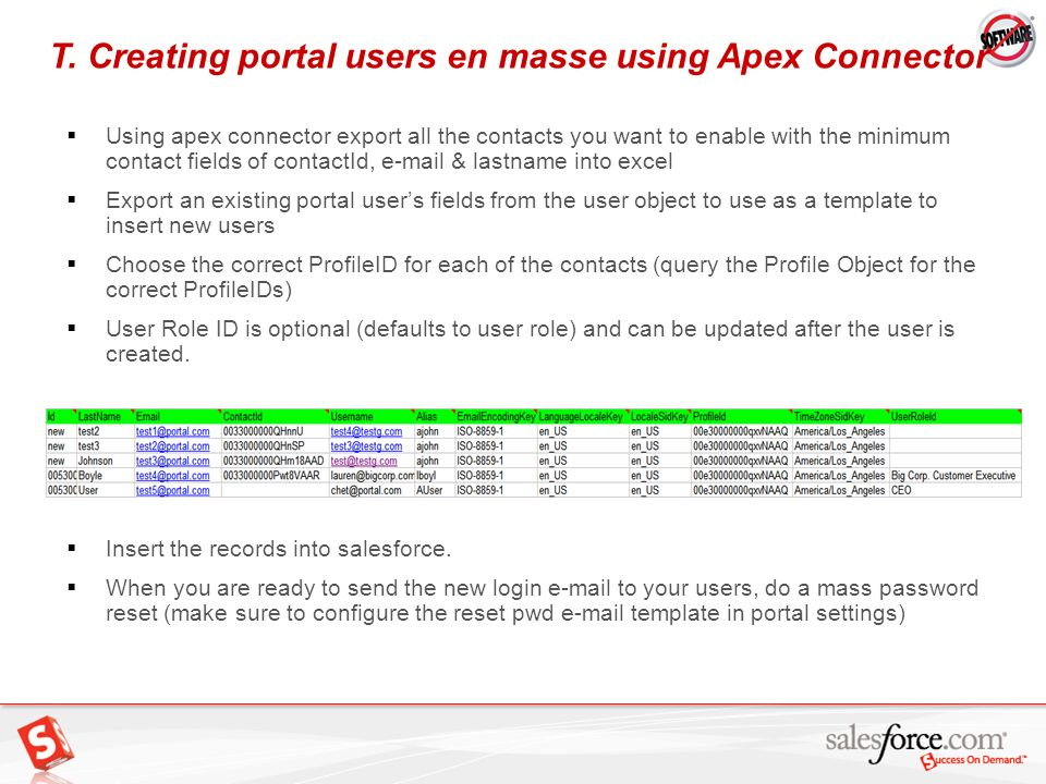 T. Creating portal users en masse using Apex Connector