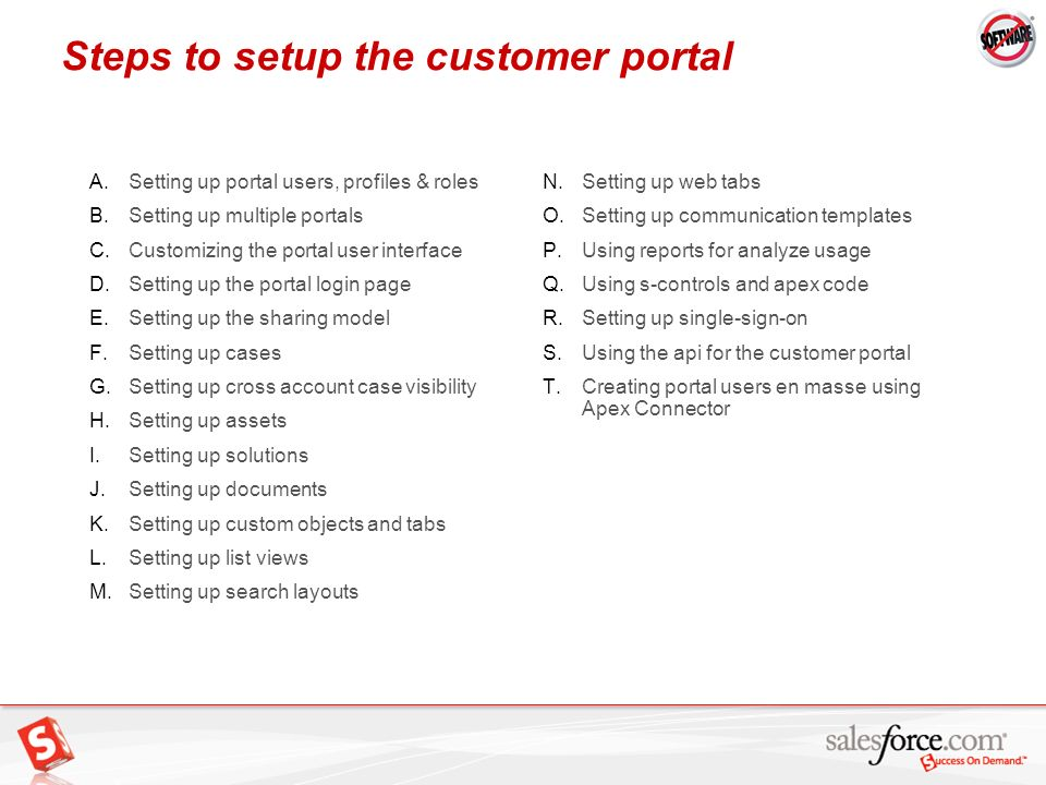 Steps to setup the customer portal