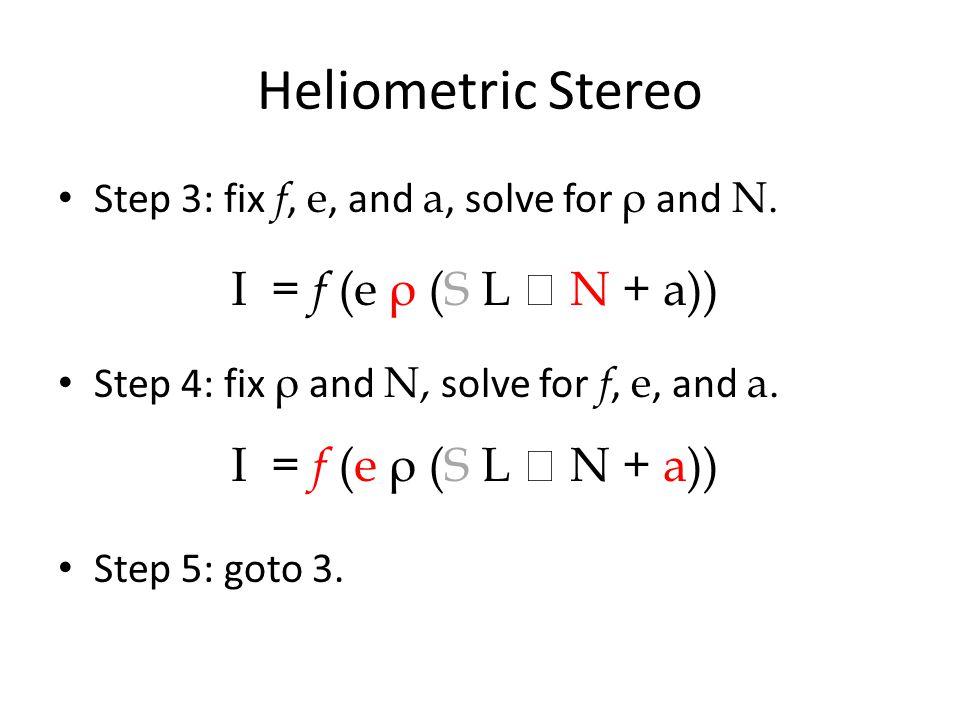 Heliometric Stereo I = f (e ρ (S L  N + a)) I = f (e ρ (S L  N + a))