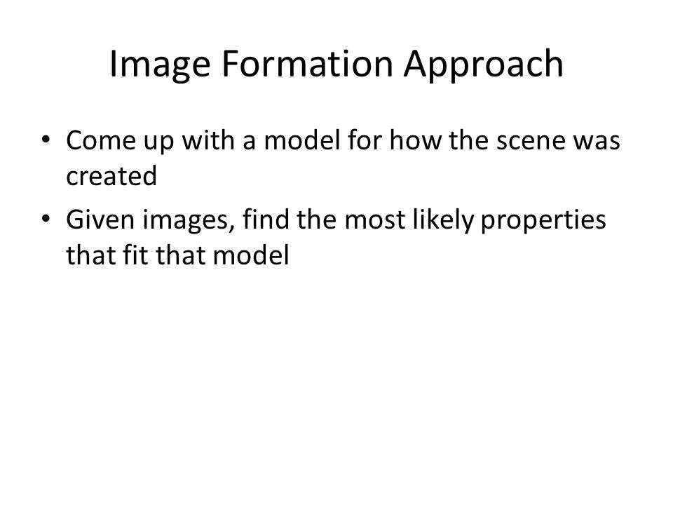 Image Formation Approach
