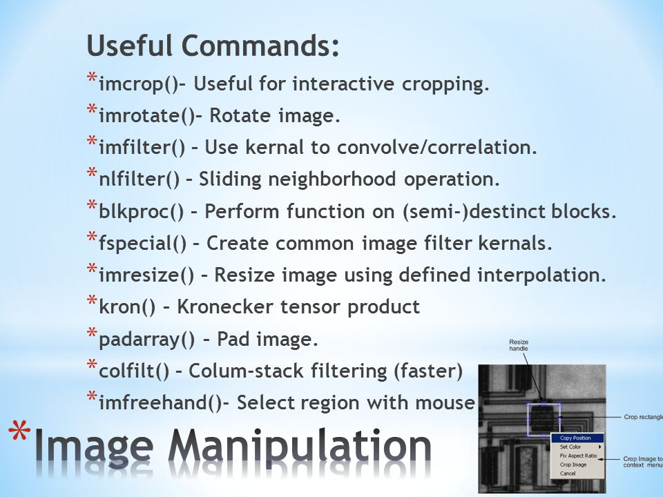 Image Manipulation Useful Commands: