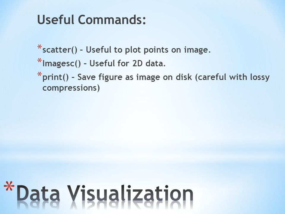Data Visualization Useful Commands: