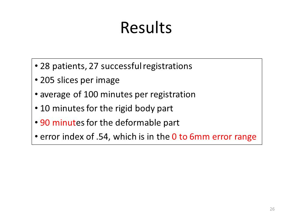 Results 28 patients, 27 successful registrations 205 slices per image