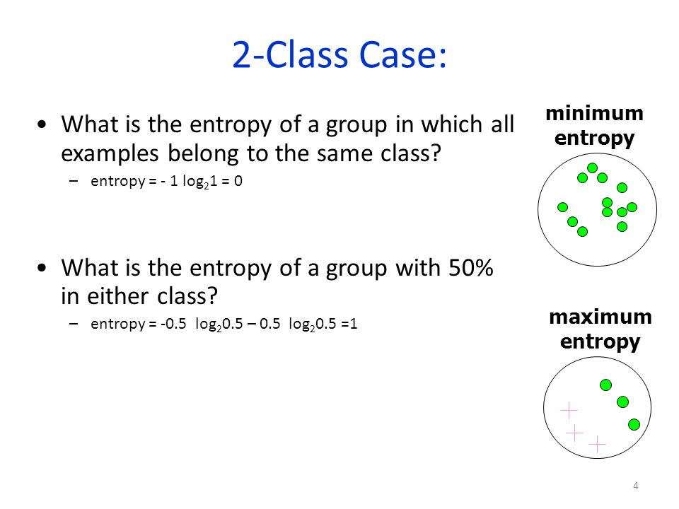 2-Class Case: minimum. entropy. What is the entropy of a group in which all examples belong to the same class