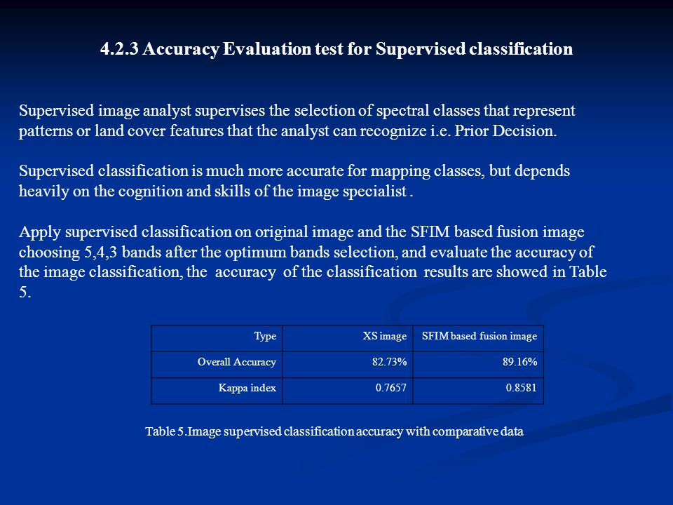 4.2.3 Accuracy Evaluation test for Supervised classification