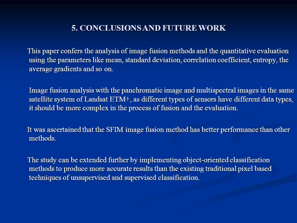 5. CONCLUSIONS AND FUTURE WORK