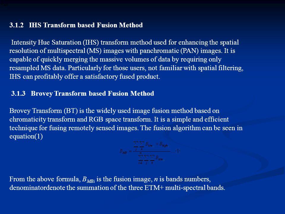 3.1.2 IHS Transform based Fusion Method
