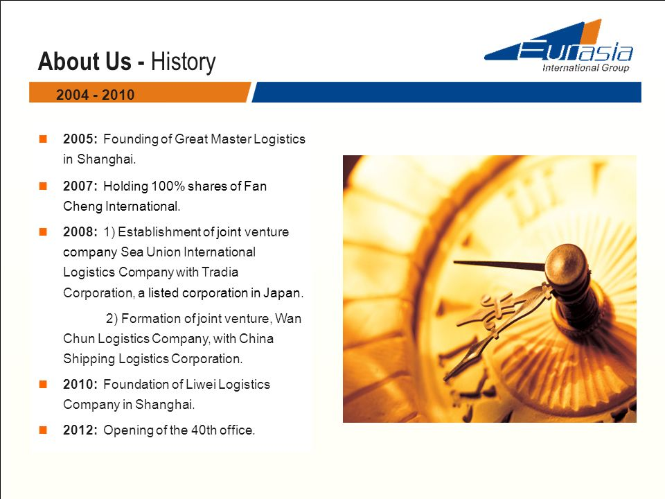 About Us - History 2004 - 2010. 2005: Founding of Great Master Logistics in Shanghai. 2007: Holding 100% shares of Fan Cheng International.