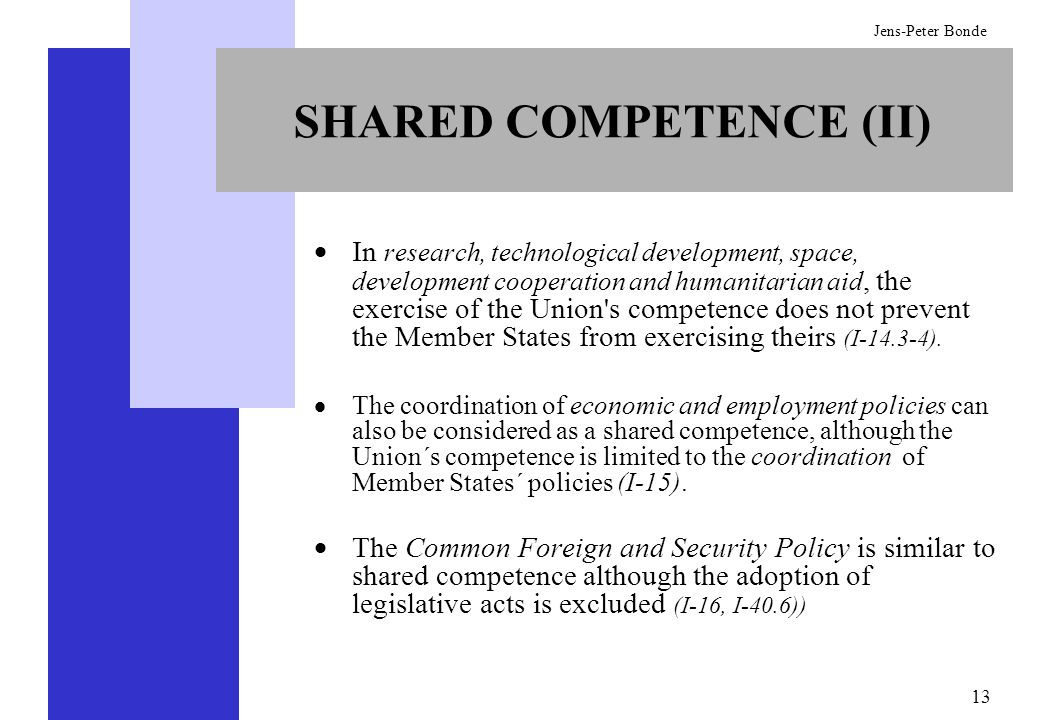 SHARED COMPETENCE (II)