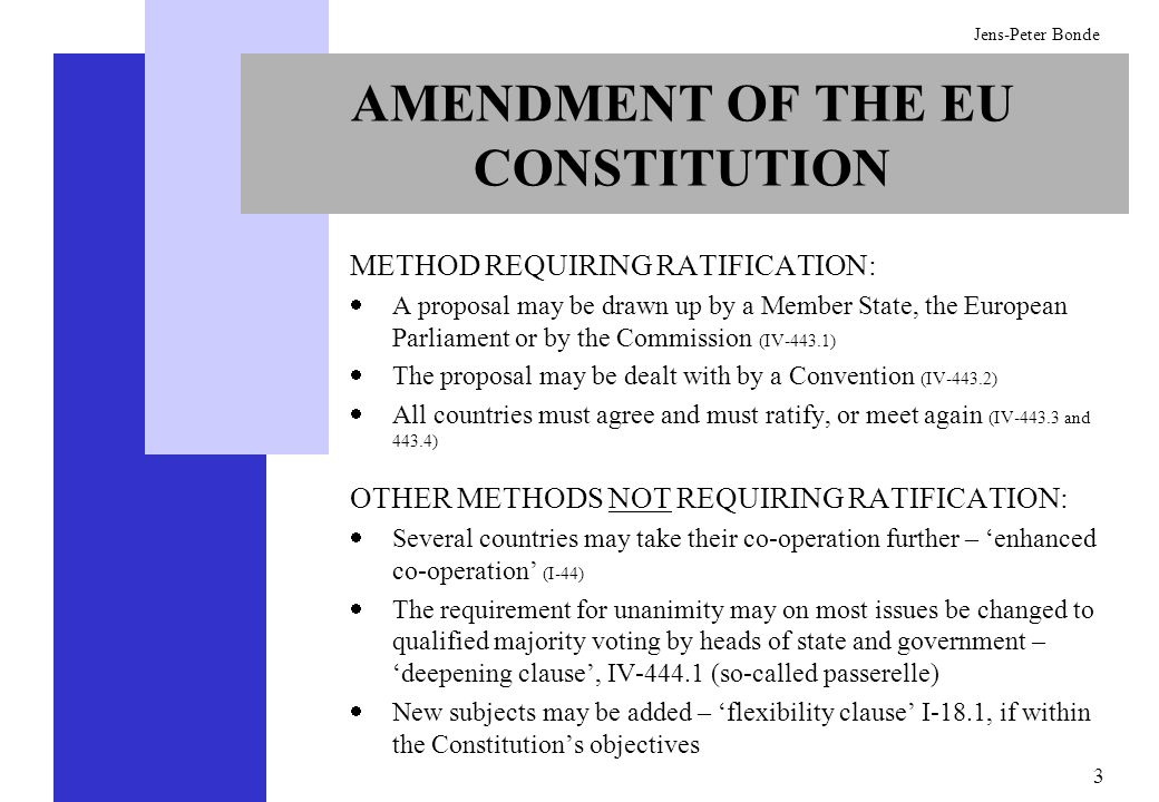 AMENDMENT OF THE EU CONSTITUTION