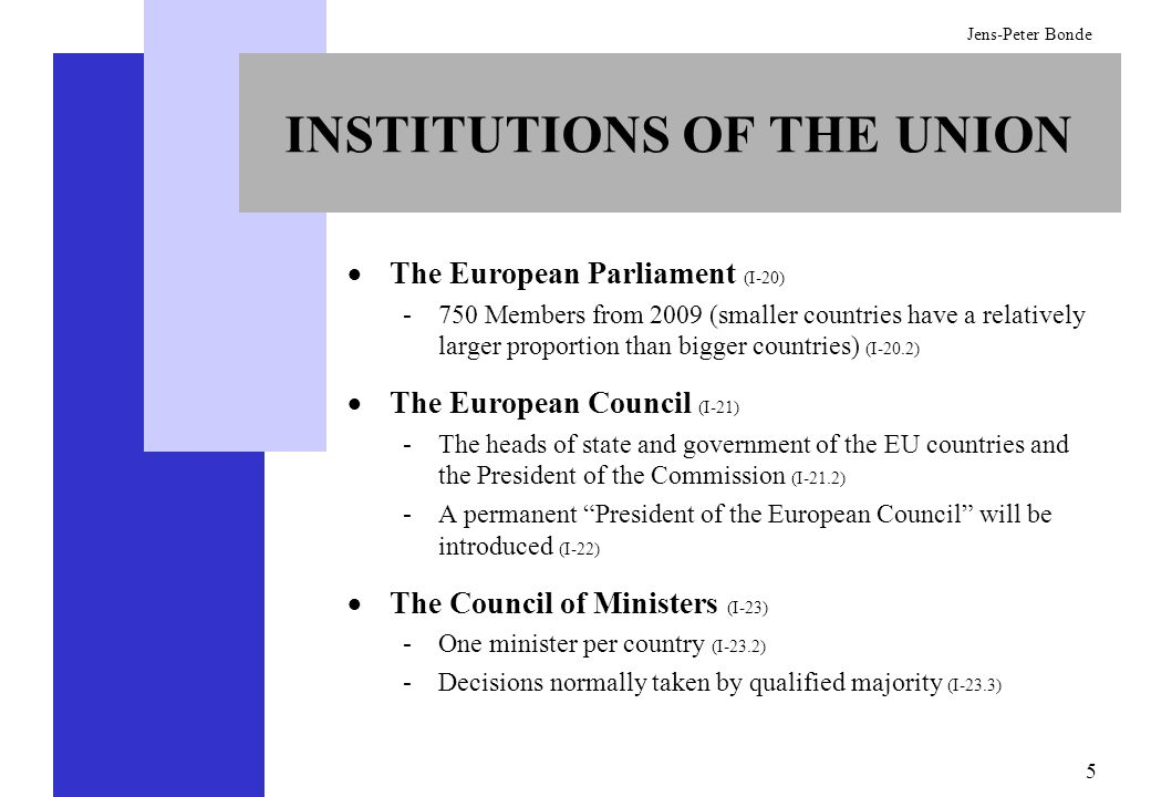 INSTITUTIONS OF THE UNION