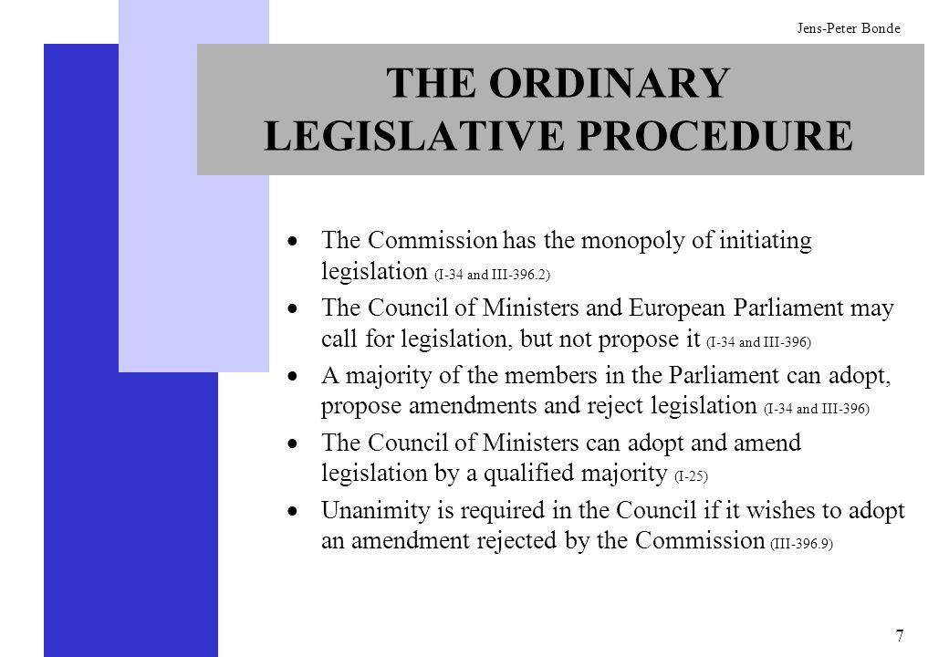 THE ORDINARY LEGISLATIVE PROCEDURE