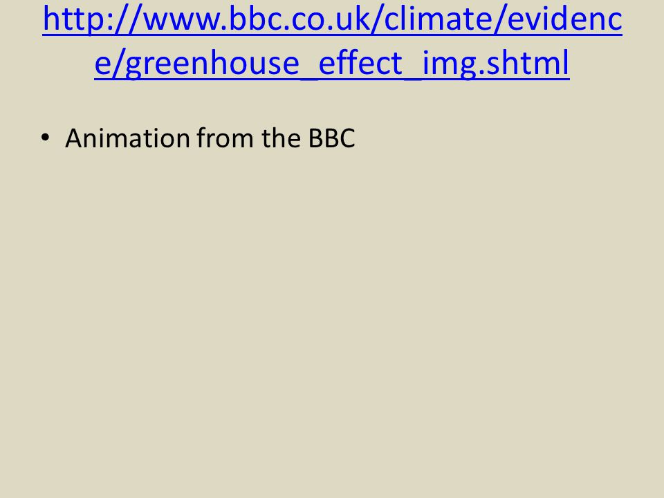 http://www.bbc.co.uk/climate/evidence/greenhouse_effect_img.shtml Animation from the BBC