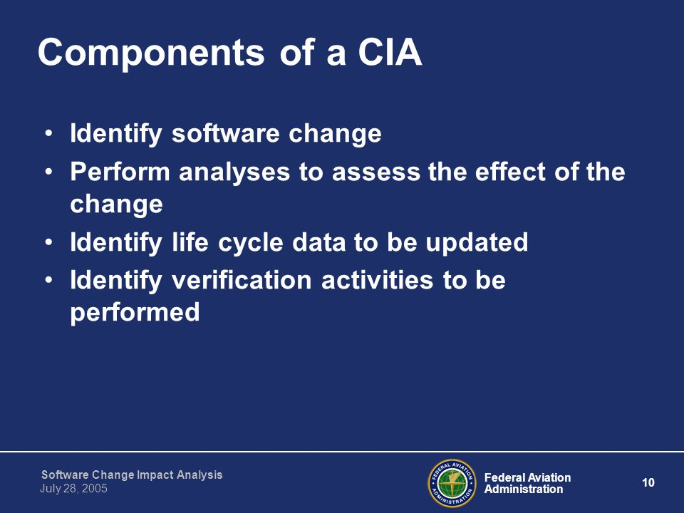 Components of a CIA Identify software change