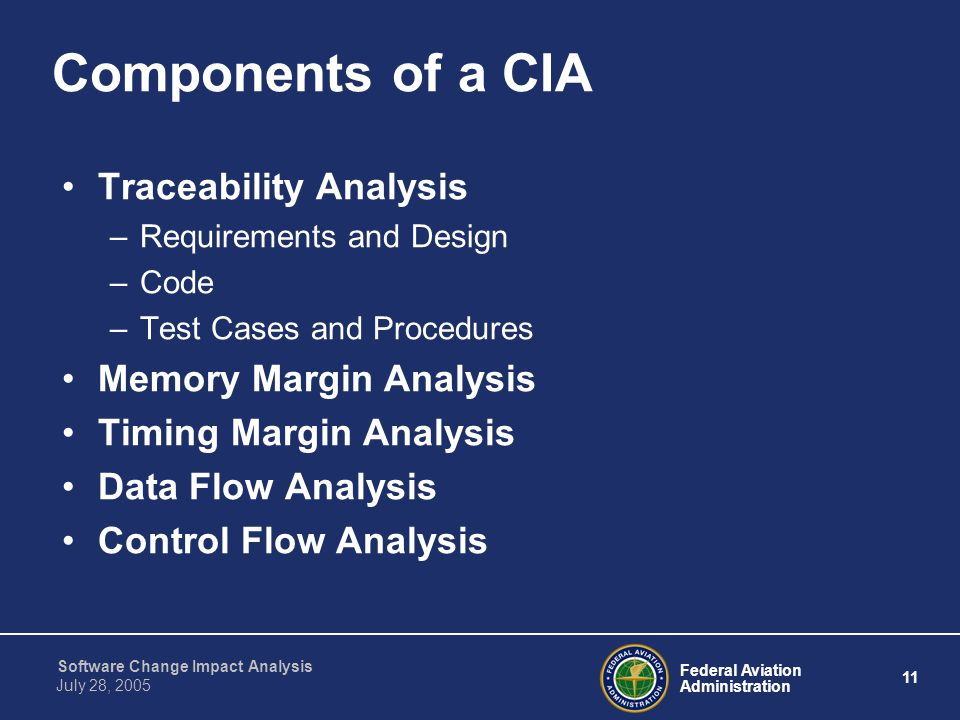 Components of a CIA Traceability Analysis Memory Margin Analysis