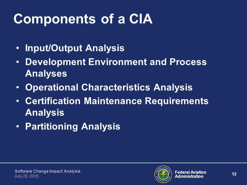 Components of a CIA Input/Output Analysis