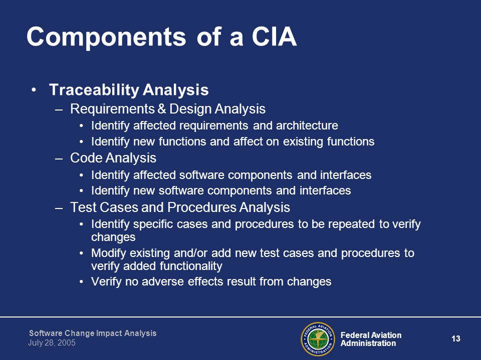 Components of a CIA Traceability Analysis