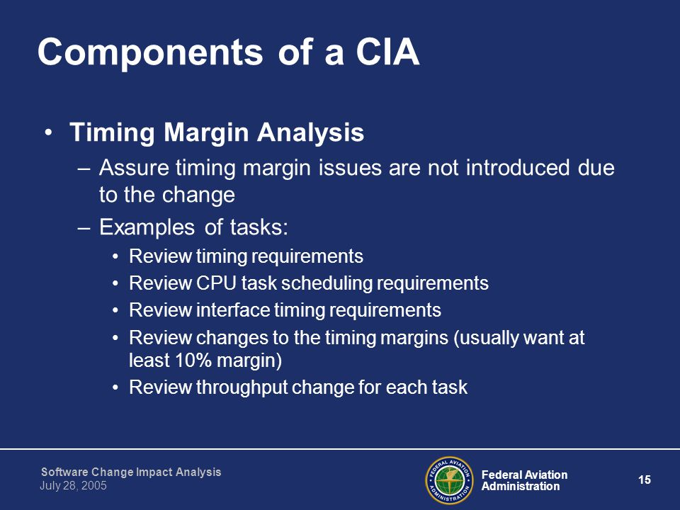 Components of a CIA Timing Margin Analysis