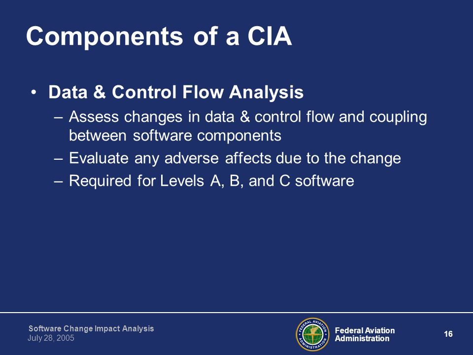 Components of a CIA Data & Control Flow Analysis