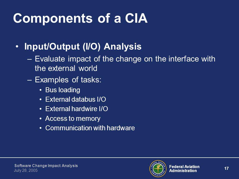Components of a CIA Input/Output (I/O) Analysis