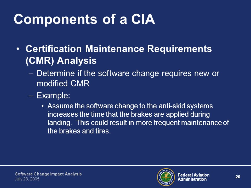 Components of a CIA Certification Maintenance Requirements (CMR) Analysis. Determine if the software change requires new or modified CMR.