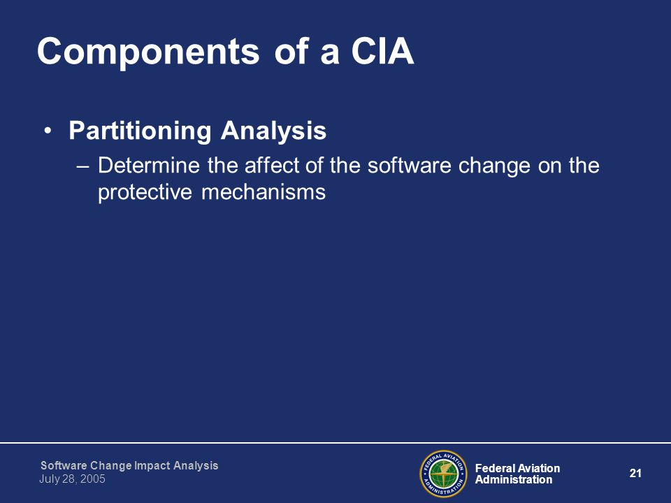 Components of a CIA Partitioning Analysis