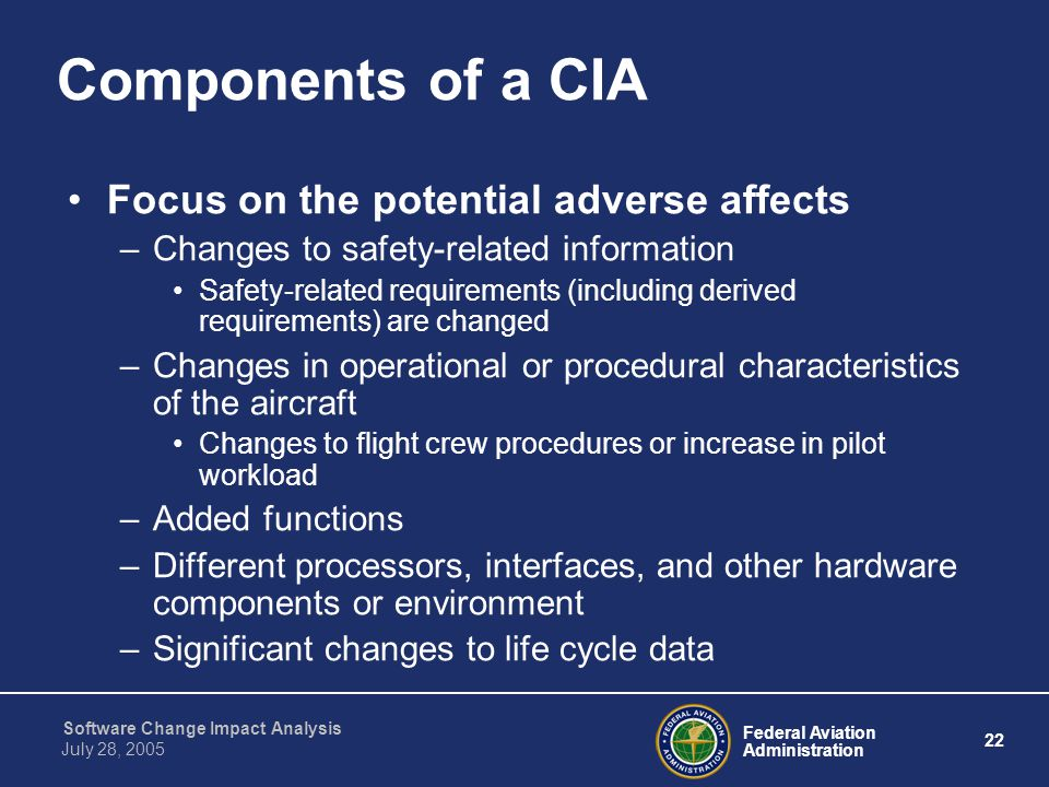 Components of a CIA Focus on the potential adverse affects