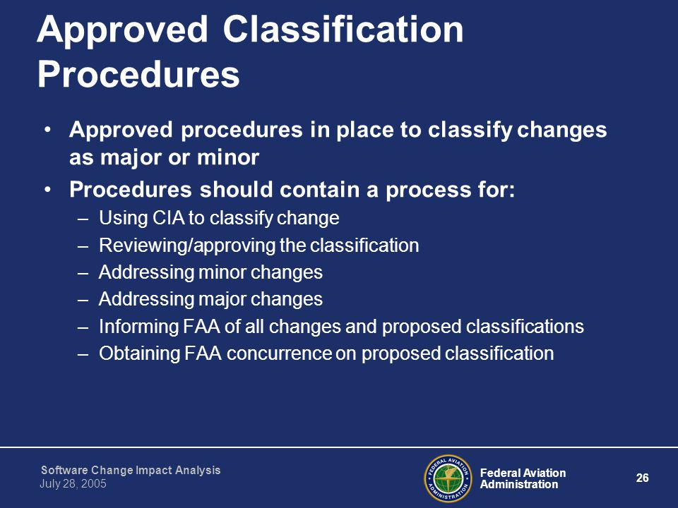 Approved Classification Procedures