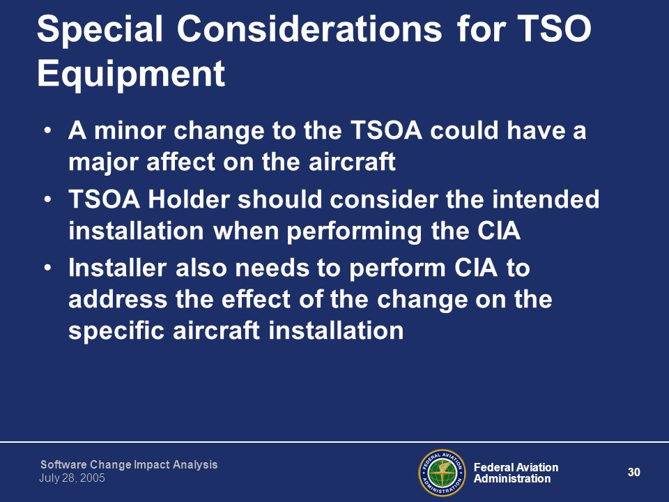Special Considerations for TSO Equipment