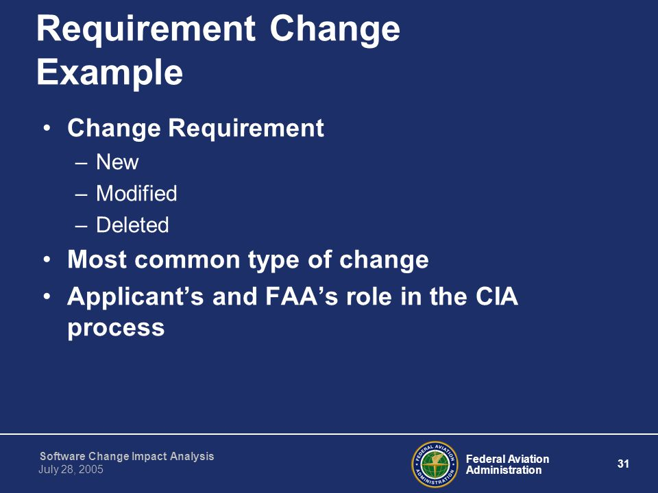 Requirement Change Example