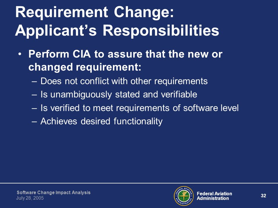 Requirement Change: Applicant's Responsibilities