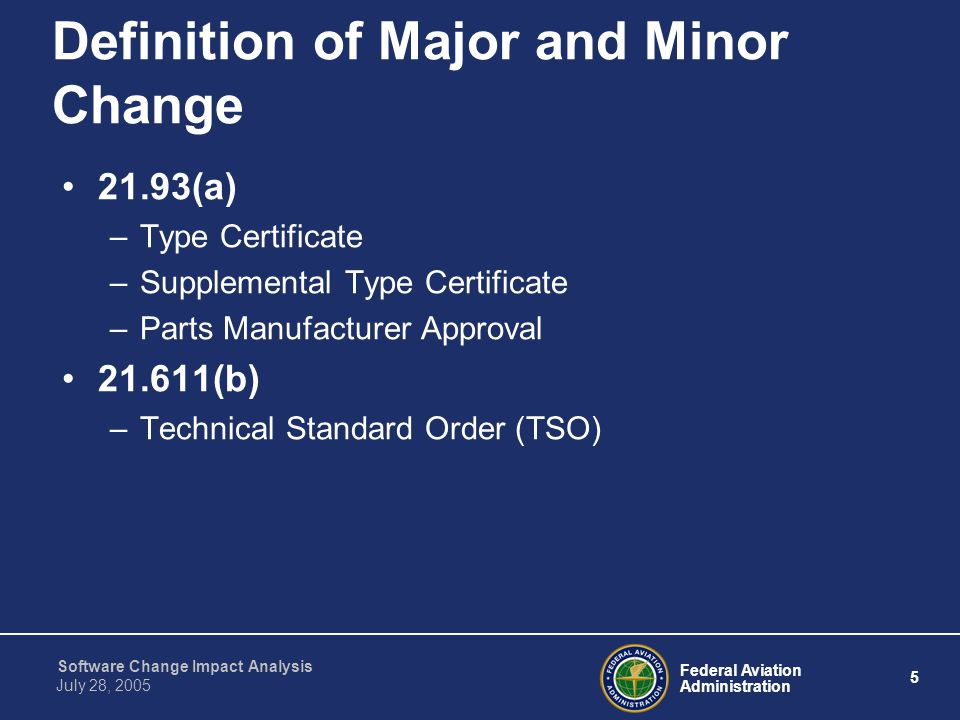 Definition of Major and Minor Change