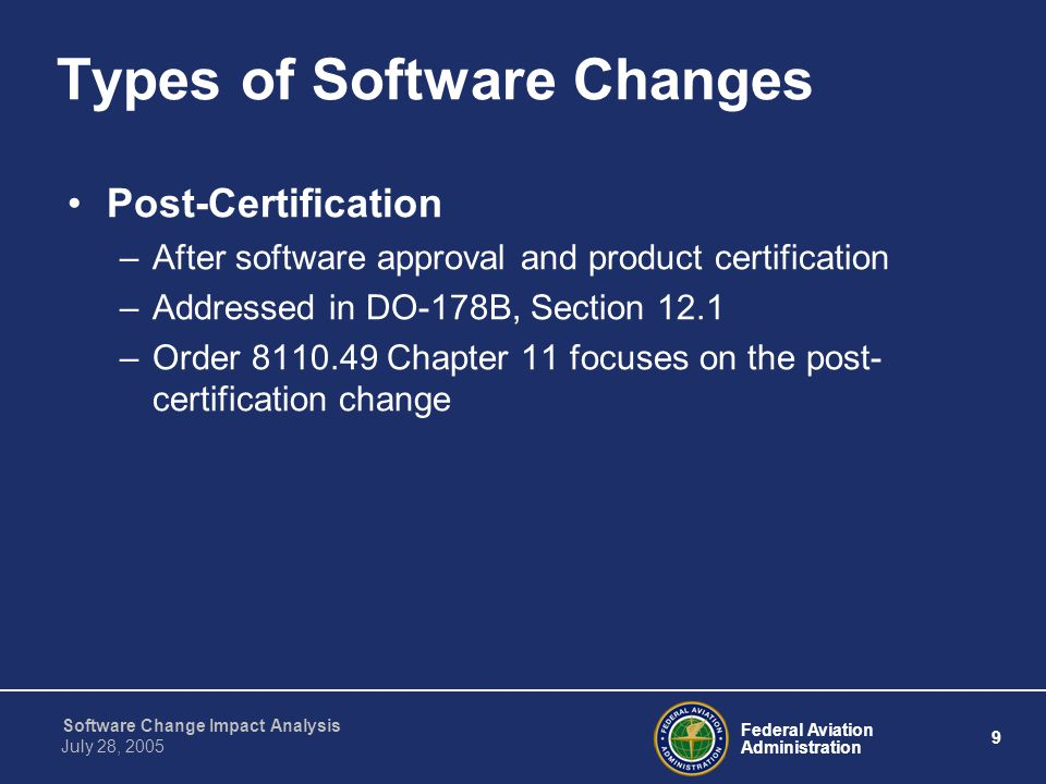 Types of Software Changes