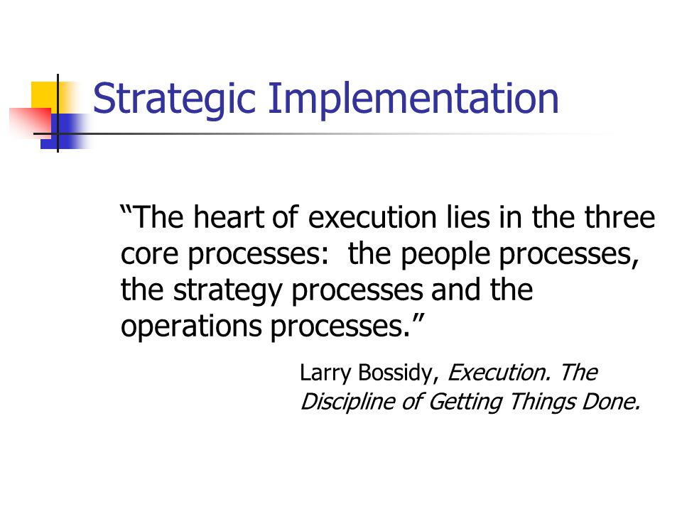Strategic Implementation