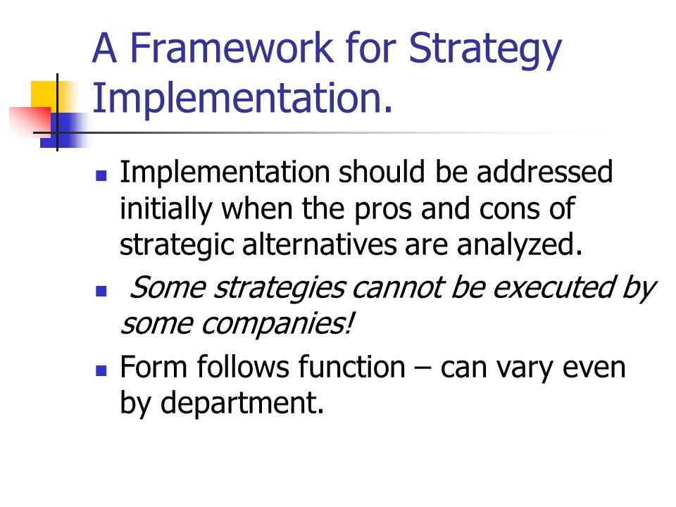 A Framework for Strategy Implementation.