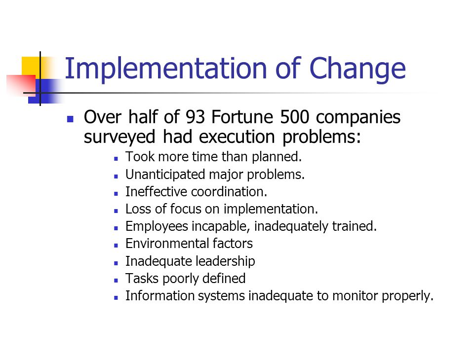 Implementation of Change