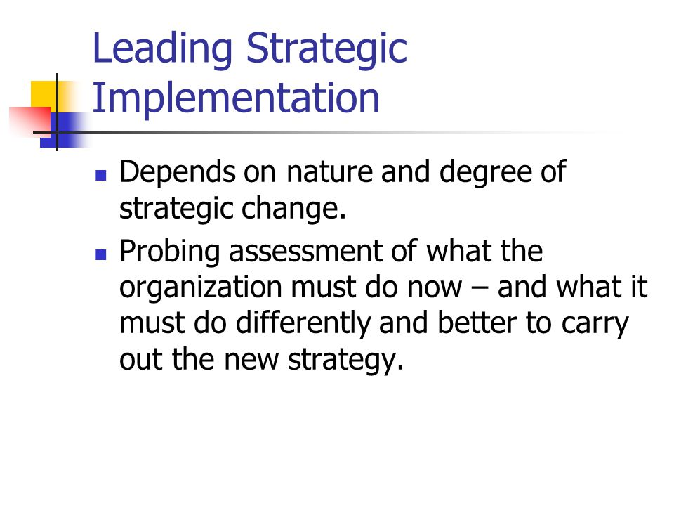Leading Strategic Implementation