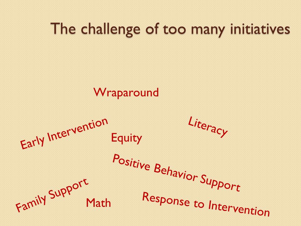 The challenge of too many initiatives