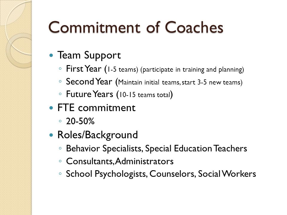 Commitment of Coaches Team Support FTE commitment Roles/Background