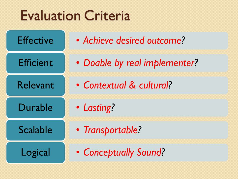Evaluation Criteria Achieve desired outcome