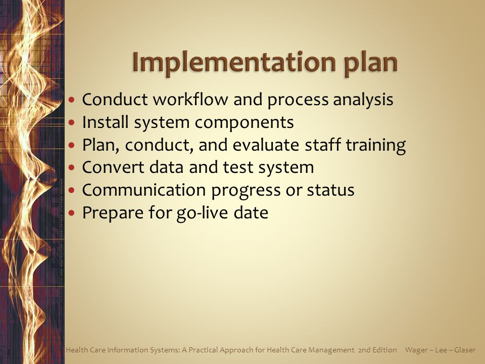 Implementation plan Conduct workflow and process analysis