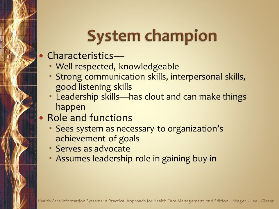 System champion Characteristics— Role and functions