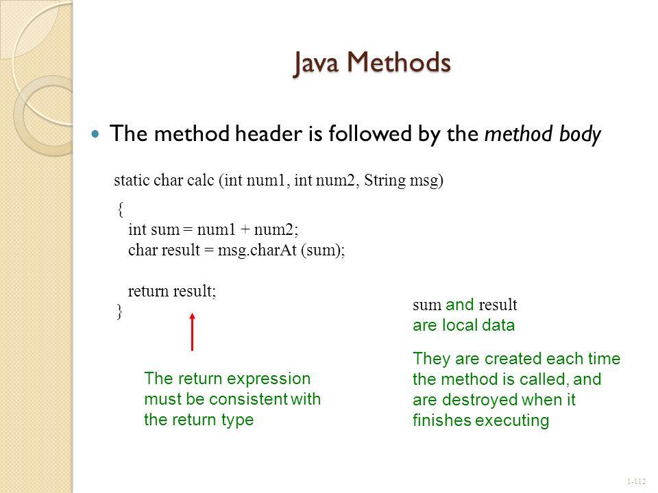 Java Methods static char calc (int num1, int num2, String msg) {
