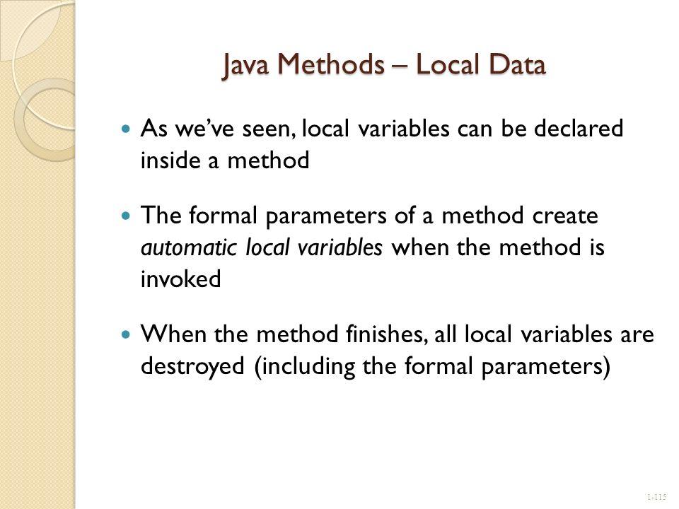 Java Methods – Local Data