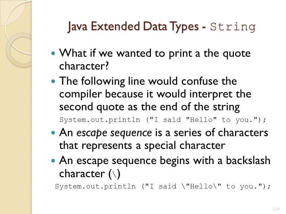 Java Extended Data Types - String