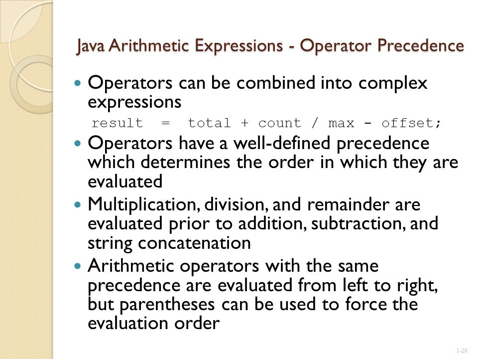 Java Arithmetic Expressions - Operator Precedence