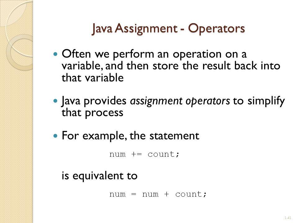 Java Assignment - Operators