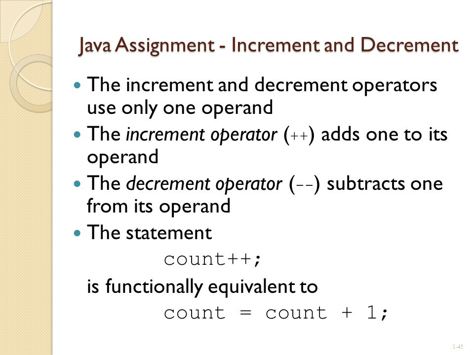 Java Assignment - Increment and Decrement