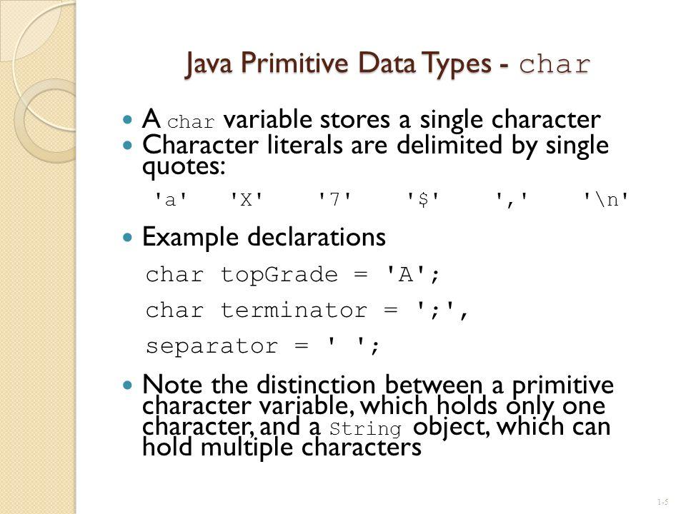 Java Primitive Data Types - char